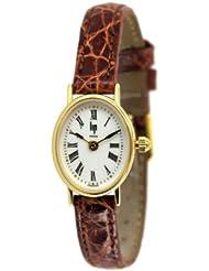 Lip - 1303902 - Montre Femme - Or Jaune 18 cts - Quartz Analogique - Cadran Blanc - Bracelet Cuir de Crocodile Marron