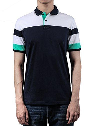 Allegra K Herren Farbe Block Seite Schlitz Punkt Kragen Kurze Ärmel Polo Shirt Hemd L, US 44/EU 54 (Polo Ralph Lauren-männer Knopf)