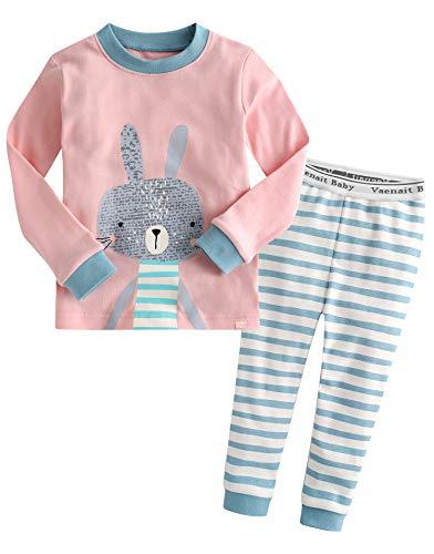 Kinder Maedchen Schlafanzug Cotton Sleepwear Pajama 2pcs Set Pink Bunny S