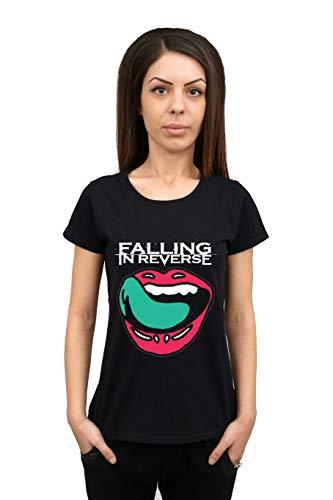Falling In Reverse Damen T-Shirt Rock Band Rundhalsausschnitt, Schwarz Gr. XS, Schwarz (Reverse Band-t-shirts In Falling)