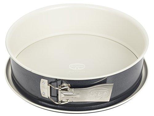Dr. Oetker Springform Ø 28 cm, Kuchenform mit Flachboden, runde Backform aus Stahl mit keramisch verstärkter Antihaft-Beschichtung (Farbe: creme/anthrazit), Menge: 1 Stück