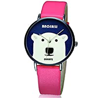 BAOSAILI Big White Bear Design Animal Cartoon Watch For Girls with pink leather