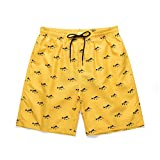 Pantalones de Playa Estilo Hawaiano para Hombre Verano bañador de Surf con Estampado Moda pantalón Corto Pantalones Cortos de baño Casual Slim fit Shorts Amarillo 127
