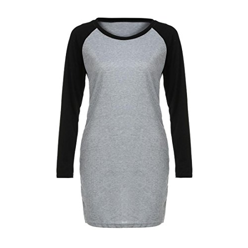 BYSTE Donne Vestito Gonna Manica lunga Bodycon Partito Mini Vestito da club Nero