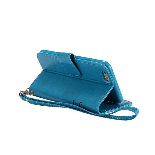 iPhone 7 Custodia, Case del portafoglio [ Cuoio Premium PU ] iPhone 7 Copertura Supporto per scheda di funzione del supporto per notebook e Slot Cover Shell - farfalla Ragazza gatto ( doro ) blu