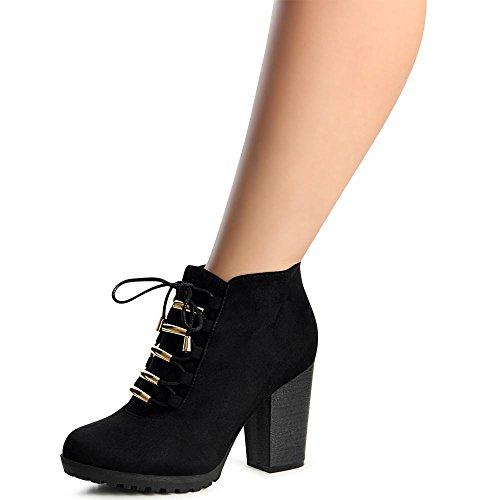 topschuhe24 998 Damen Plateau Stiefeletten Ankle Boots Schwarz