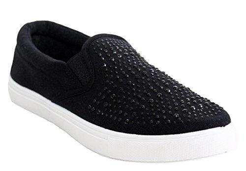 Dek Womens Ladies Slip On Diamante Twin Gusset Canvas Casual Girls Plimsolls Pumps Trainers Loafers Shoes UK Sizes 3-8
