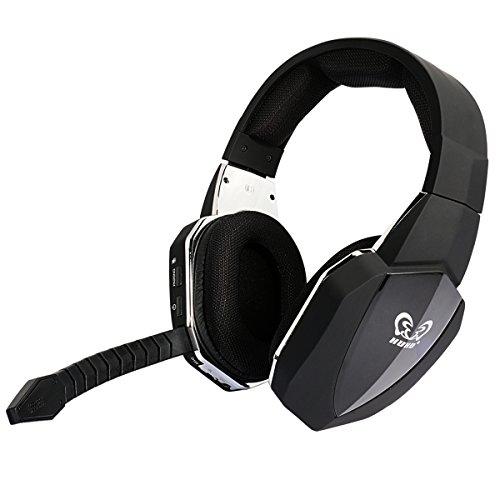 HUHD 2,4GHz Digital Audio Wireless Geräuschunterdrückung Gaming Headset für PS4/PS3/Xbox 360, Upgrade abnehmbares Mikrofon, neuesten Verbesserte Version hw-398bk (schwarz)