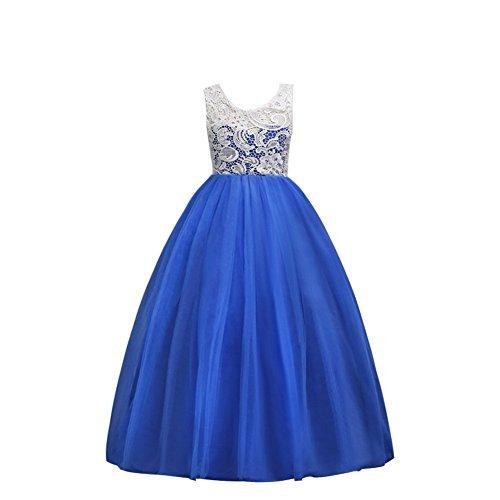 Wulide Kinder Mädchen Prinzessin Kleid Abendkleid mit 'Blumen'-Muster, Knallblau,...