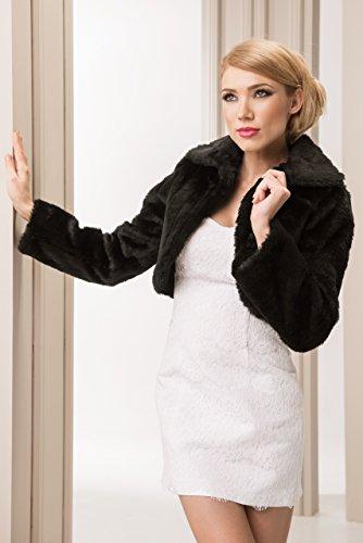 Bolerojackchen Braut Jacke Bolero aus kunstlichem Fuchspelz - E20 - schwarz - Gr M