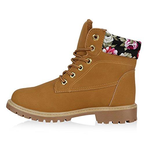Warm Gefütterte Worker Boots Damen Outdoor Stiefeletten Bequem Hellbraun Blumen