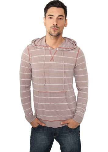 URBAN CLASSICS - Striped Burnout (ruby/white) - Hoody, Gr. L -