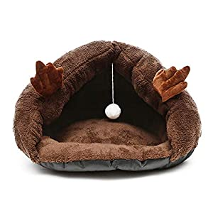 Hioowiu Winter Warme Hundebett Pet House Schöne Weiche Fleece Katze Höhlenbett Cosy Nest Pet Hausschuhe Form Schlafkissen Kaffee_50x45x30cm