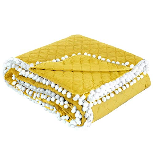 Design91 Tagesdecke Steppdecke Bettüberwurf Doppelseitig Gesteppt Muster mit Bommeln Pompon (Gelb, 220x240 cm) - Grüne Bettdecken