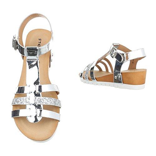 Keilsandaletten Damen Schuhe Plateau Keilabsatz/ Wedge Keilabsatz Schnalle Ital-Design Sandalen / Sandaletten Silber