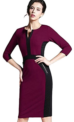 u-shot da donna patchwork Slim Fit formale da indossare al lavoro cocktail Ball Dress Plum