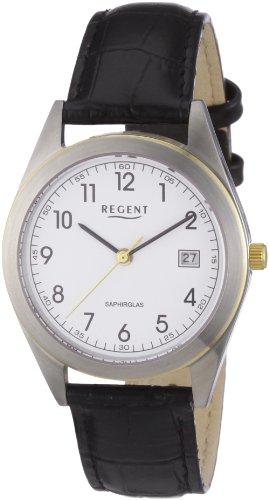 Regent 11120089 - Reloj analógico de cuarzo para hombre con correa de piel, color negro