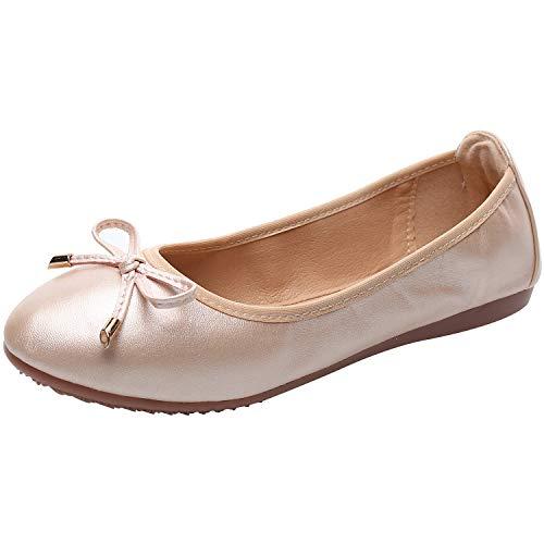 rismart Damen Tanzen Schlüpfen Wohnung Bowknot Elegant Weich Ballerinas Schuhe SN02829(Pink,EU38) -