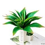 Justoyou Kunstpflanzen, 32 cm breit, fühlt sich echt an, Sukkulente Aloe Vera, Steckpflanze für Innen- und Außenbereich, Garten, Badezimmer, Dekoration