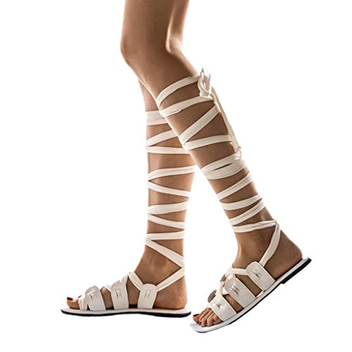 Dorical Sandalia Romana Trenzados Planas de Mujer Planas Casual Moda Verano Altas Casual Pisos Roma Zapatos Sandalias de Vestir Mujer Verano 2019 Rodilla Peep Toe Plano Strappy Botas Playa