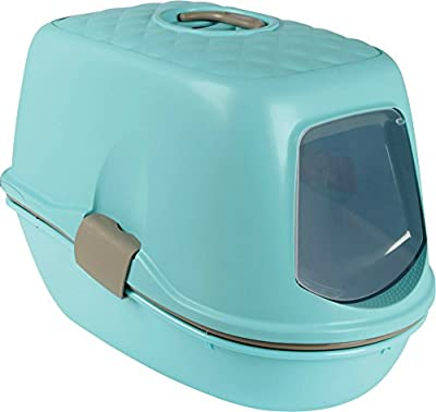 Trixie Berto Cat Litter Box with Lid Cover and Sieve in Turquoise