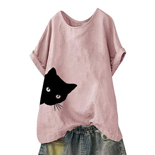 Frauen Casual Blusen Sommer Kurzarm Freizeithemd Katzen Druck T-Shirt Cotton Lose Top Pluse Size Atmungsaktiv Blusen Bequem Leichtgewicht Strandhemd -