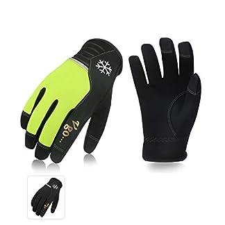 Vgo 2Pares 5℃ o superior Guantes Invierno de Trabajo de Cuero, Guantes Cálido con Pantalla Táctil de Alta Destreza (Negro y Verde Fluorescente, Talla 8/M, AL8772)