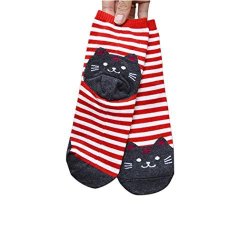 Goosuny Damen Socken 3D Tiere Gestreift Cartoon Sportsocken Frauen Katze Wintersocken Lustige Farbige Fußabdrücke Baumwollsocken Fußboden Socks Sportstrümpfe ()