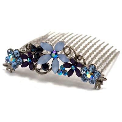 Petits Merveilles D'amour - Swarovski Cristal Peigne Mariée avec fleurs Bleu