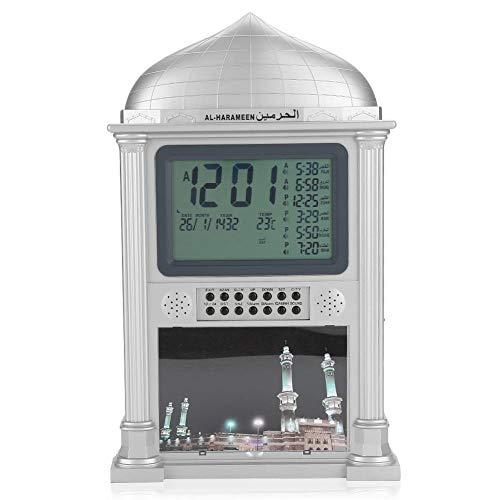 Bewinner 1 Stücke Islamische Uhr für Wand Schreibtisch, Kunststoff Islamisches Gebet Digitale Kalender Zeitanzeige Alarm Wand Azan Uhr, Haus Dekoration(Grau)