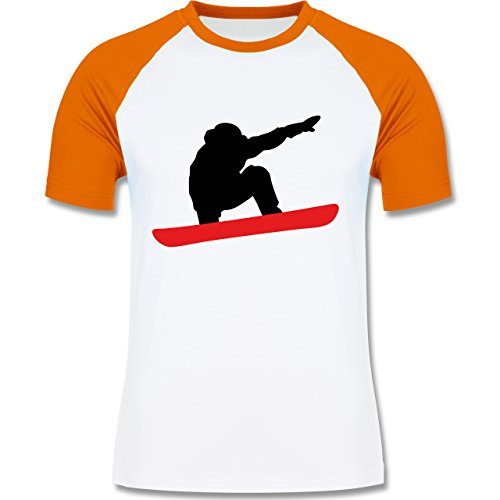 Wintersport - Snowboard Abfahrt Planke - zweifarbiges Baseballshirt für Männer Weiß/Orange