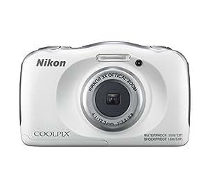 Nikon COOLPIX W100 - Fotocamera digitale compatta impermeabile, 13,2 megapixel, Lunghezza focale da 4,1 a 12,3 mm, Bianco