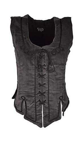Dark Dreams Gothic Mittelalter LARP Mieder Keira, Farbe:schwarz, - Mieder Samt Kostüm