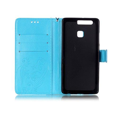 Huawei-P9-Custodia-Cover-Per-Huawei-Ascend-P9-Custodia-in-Pelle-Portafoglio-JAWSEU-Shock-AbsorptionAnti-Scratch-Lusso-3D-Goffratura-Fiore-Farfalla-PU-Leather-Flip-Cover-Custodia-per-Huawei-P9-Custodia