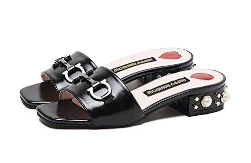 GLTER Femmes Sandales Talons Peep Boucle MéTallique Britannique Avec Pantoufles En T à La Mode Pompes Slip On Mule Low Heel Shoes PU Sandales Solides Noir Kaki Black