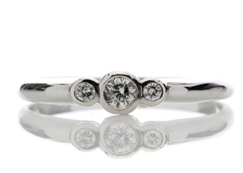 Wunderschöner 18kt Weißgold Trilogie Ring - Diamant, 18kt Weißgold, Natürlicher Diamant, 750 Gold, S 1/2 (S2-diamant-ring)