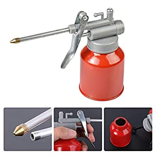 350ML High - Pressure Machine Oil Can Oil Spray Bottle Oil Can with Long Nozzle Machine Oil Pot Plastic Hose Resistant to Copper Tip Nozzle Oilerfor Maintenance of Mechanical Equipment.