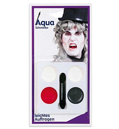 KarnevalsTeufel Aqua Schminkset Schminkfarben auf Wasserbasis Gesichtsfarbe 4 Tiegel Aqua Schminke...