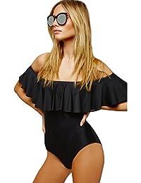 Trajes de Baño Fuera del Hombro para Mujer Bikinis Bonitos Triangl Deportivos Bañadores Mujeres Bikini Bandeau Push Up Color Puro Ropa de Baño Swimwear Bikiny Bañador Vestido Traje Baño