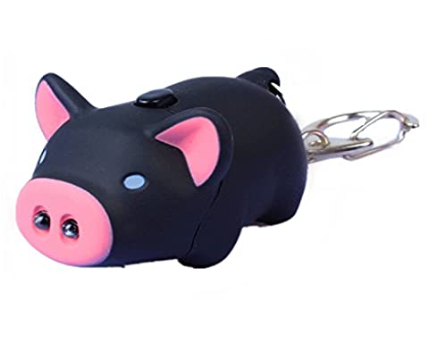 WODEJIAYUAN Neuheit-nette Schwein LED KeyChain Schlüsselring-Fackel mit Licht u. Stichhaltigem Ton KeyChain Schlüsselring, der für Beutel hängt (Orange)