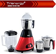 Usha Trienergy Plus Mixer Grinder, 800 Watt Copper Motor with Quadri Flow Square Shaped Blender Jar, 6 fin Whi