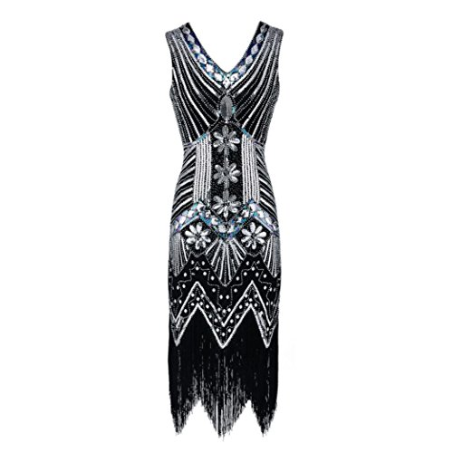 LeeY Damen 1920S Paillette Kunst Jugendstil Verschönert Fransen Flapper Kleid Party Abendkleid...