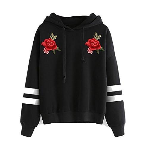 Damen Hoodie Sweatshirt,Sannysis Frauen Pullover mit Kapuze Tops Bluse (M, Schwarz4)