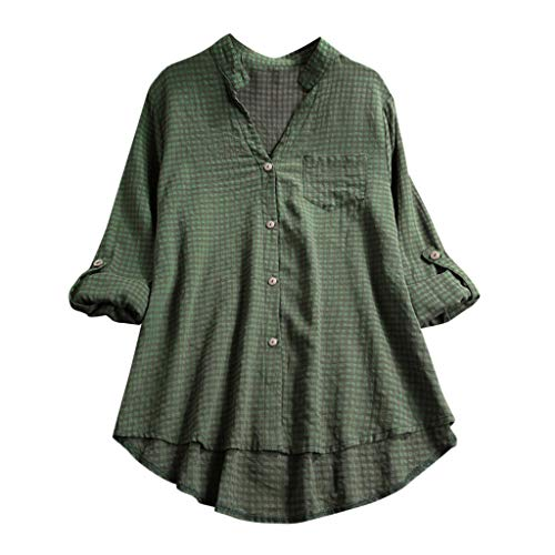 Andouy Damen Hemd Top Kariertes Langarm Leinen Plus Size Gr.38-46 Tunika Knopf Lose Bluse Übergroß(L(42),Grün) - Damen Heavyweight Tee