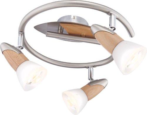 Techo Foco de mantas Spot con aplicaciones de madera, cristal satinado (lámpara...