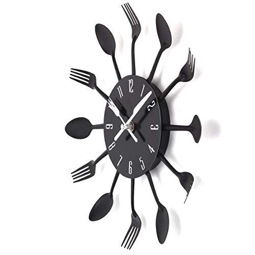 TimeLike - Orologio adesivo 3D da cucina, effetto specchiato, con motivo forchette e cucchiai, rimovibile, da arredamento 32*32*4CM Nero
