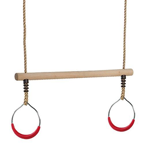 WICKEY Trapez mit Metallringen Holztrapez mit Ringen aus Metall Turngerät mit Kunststoffgriffen