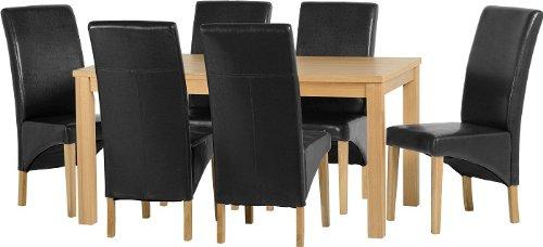 Seconique Belgravia Esszimmer-Set mit 6G1schwarz Stühle–Eiche Natur Furnier/schwarz Kunstleder