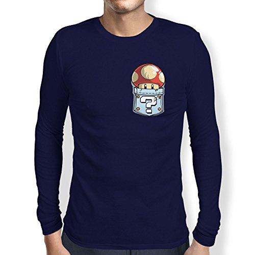 TEXLAB - Mushroom in a Pocket - Herren Langarm T-Shirt Navy