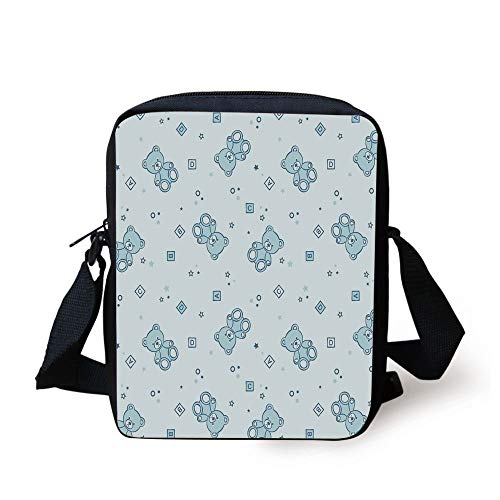 Nursery,Teddy Bears and Toys with Letters on Children Imagery Baby Blue Background,Baby Blue Aqua Print Kids Crossbody Messenger Bag Purse -